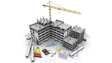 bâtiment en construction en image de synthèse