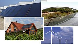 Murs végétalisés, éolienne, panneaux solaires
