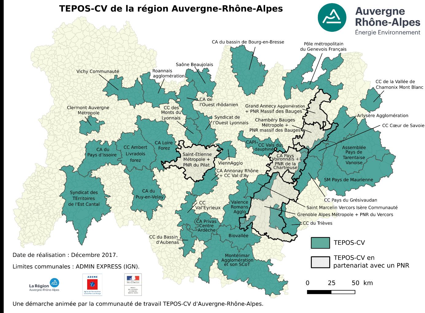 Cartographie des TEPOS-CV en Auvergne-Rhône-Alpes